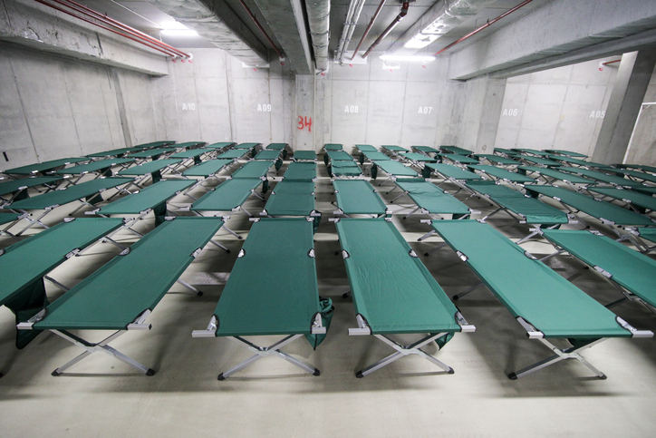 Cots in a Hurricane Shelter